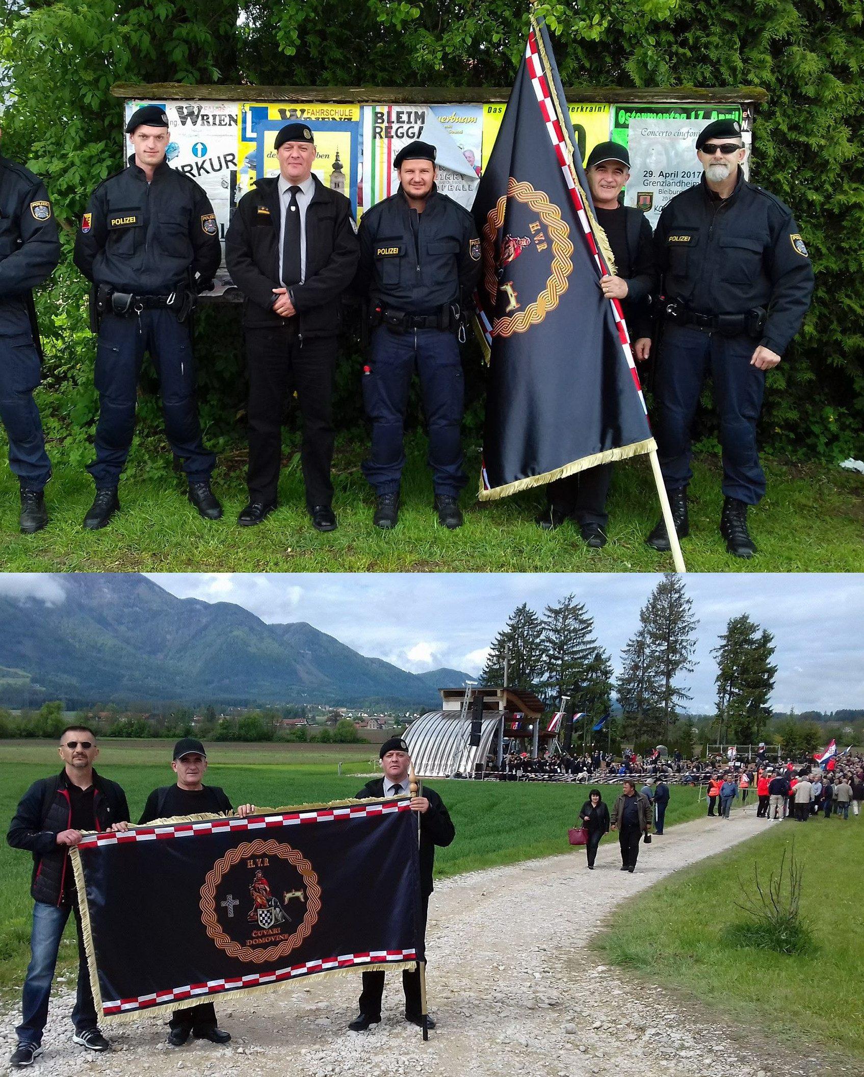 """Die Polizei ignorierte Hitlergrüße und verbotene Symbole zum allergrößten Teil. Für ein gemeinsames Foto mit dem faschistischen Ustaša-Ritterorden """"<em>H.V.R Čuvari Domovine</em>"""" posiert man aber gern. """"Freund und Helfer"""", einmal anders..."""