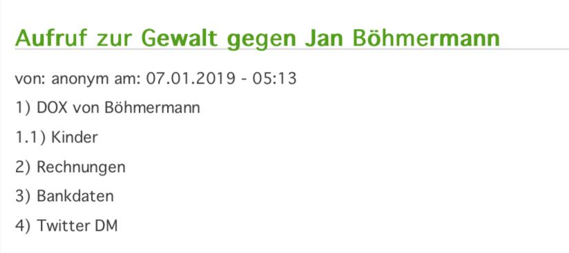 Datensammlung aus dem Hack zu Jan Böhmermann