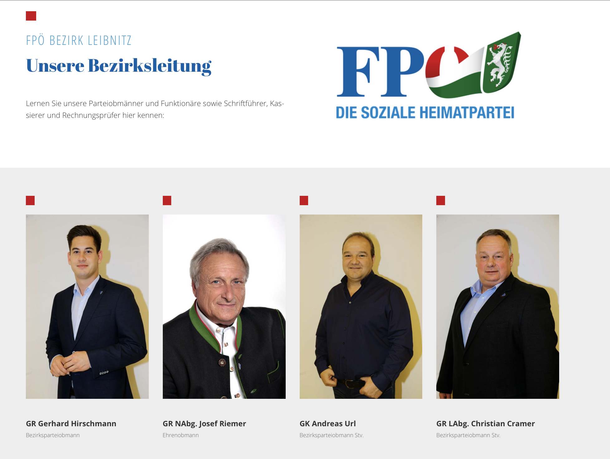 Bezirksparteileitung Leibnitz mit Gerhard Hirschmann (Screenshot 10.5.20 Website FPÖ Leibnitz)
