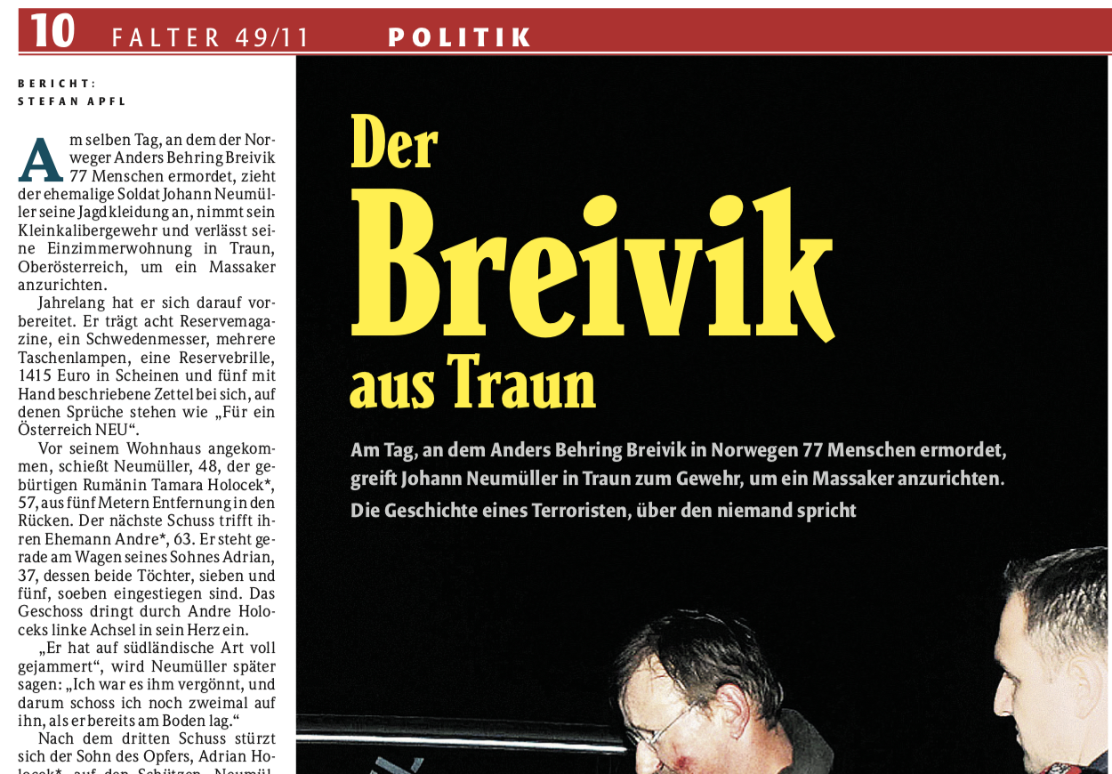 """Der Breivik aus Traun: """"Die Geschichte eine Terroristen, über den niemand spricht"""" (Falter 49/2011)"""