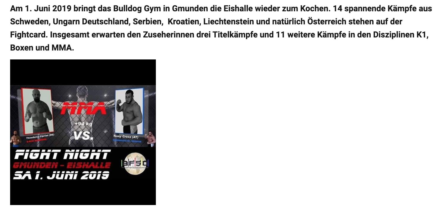 """""""Bulldog Gym"""" lädt zur Fight Night in Gmunden"""