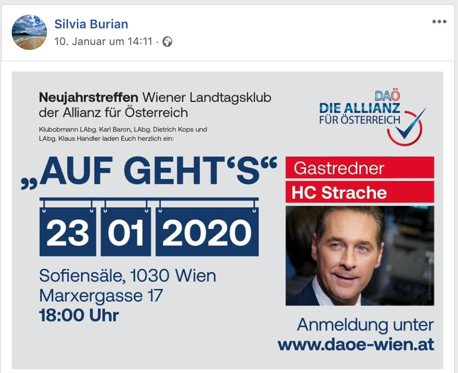 Burian bewirbt auf FB DAÖ-Veranstaltung