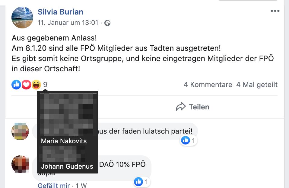 Ein Like für Burians FPÖ-Austritt von Maria Nakovits und Johann Gudenus