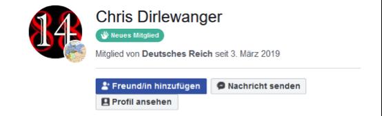 """Chris Dirlewanger Mitglied Gruppe """"Deutsches Reich"""""""
