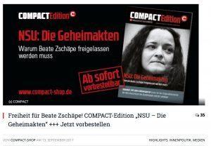Compact-Kampagne für Freilassung der NSU-Komplizin Beate Zschäpe