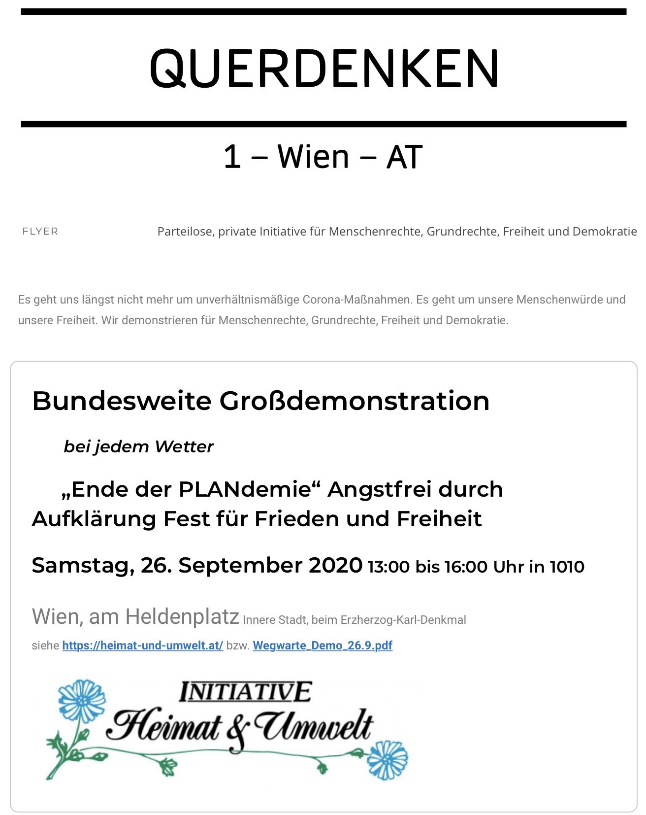 """""""Querdenken"""" bewirbt Demo der rechtsextremen """"Umwelt und Heimat"""""""