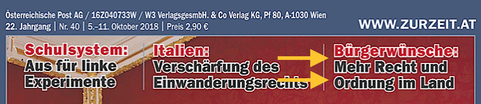"""Cover """"Zur Zeit"""" 40/18 mit hineingerutschtem Artikel """"Bürgerwünsche: Mehr Recht und Ordnung im Land"""""""
