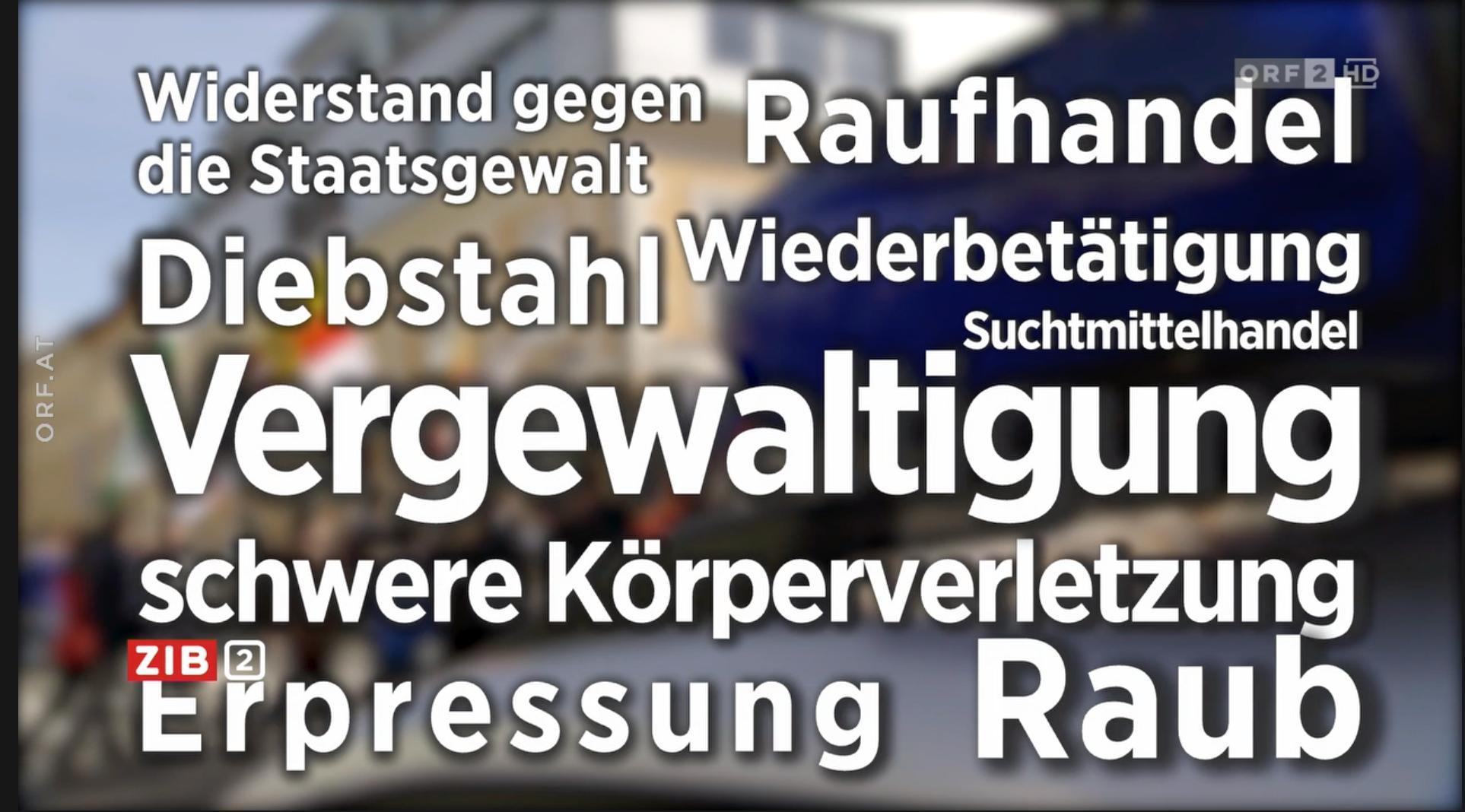 Delikte der rechtskräftig verurteilten Identitären (Screenshot ZiB 2, 11.4.19)