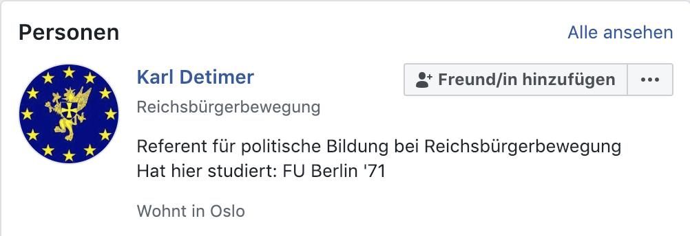 """Karl Detimer/Dettmer auf FB: """"Reichsbürgerbewegung"""""""