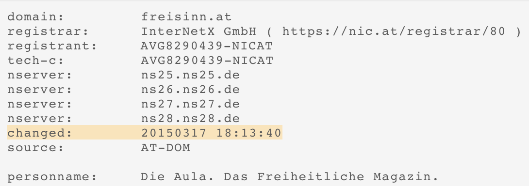 "Domain ""freisinn.at"" gekauft am 17.3.2015"