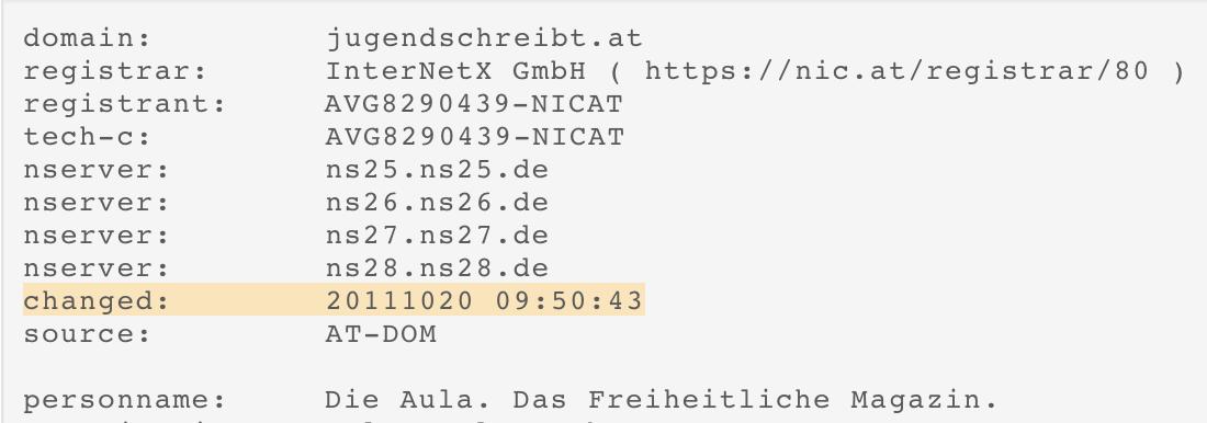 """Domain """"jugendschreibt.at"""" gekauft am 20.10.2011"""