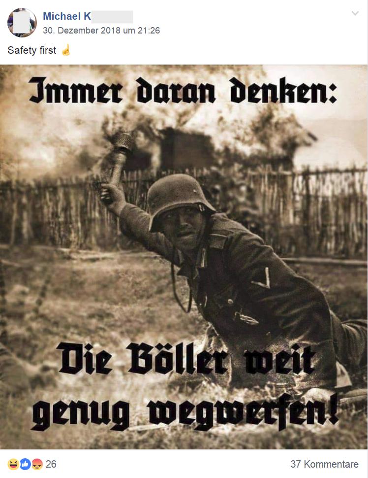 "Michael K. ""Immer daran denken: Die Böller weit genug wegwerfen"" (Screenshot FPÖ Fails 1.1.19)"