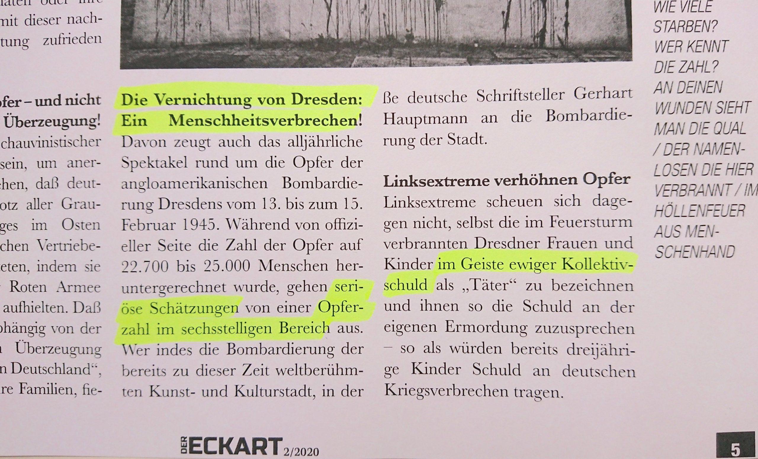 """""""Der Eckart"""": falsche Zahlen zu Dresden und """"im Geiste ewiger Kollektivschuld"""""""