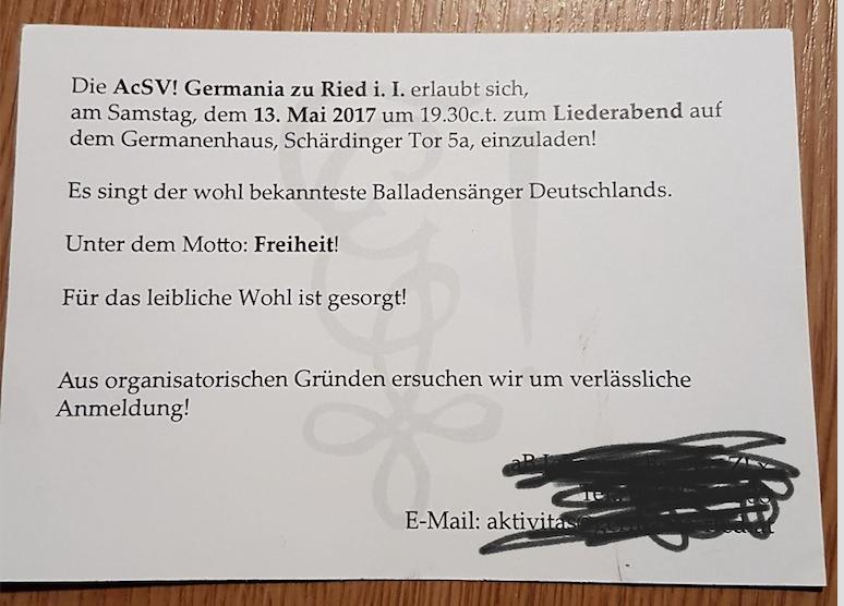 """Warum verschweigt die Germania Ried den Namen des """"bekanntesten Balladensängers Deutschlands"""" in der Einladung?"""