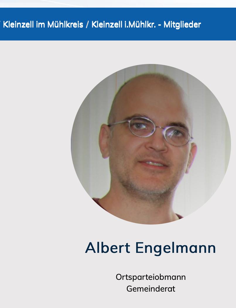 Albert Engelmann auf der Website der FPÖ-Bezirksgruppe Rohrbach: Osrtparteiobmann und Geminderat in Kleinzell