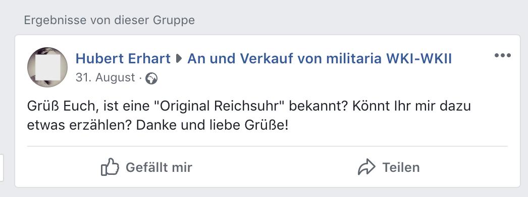 """Erhart erkundigt sich nach einer """"Original Reichsuhr"""""""