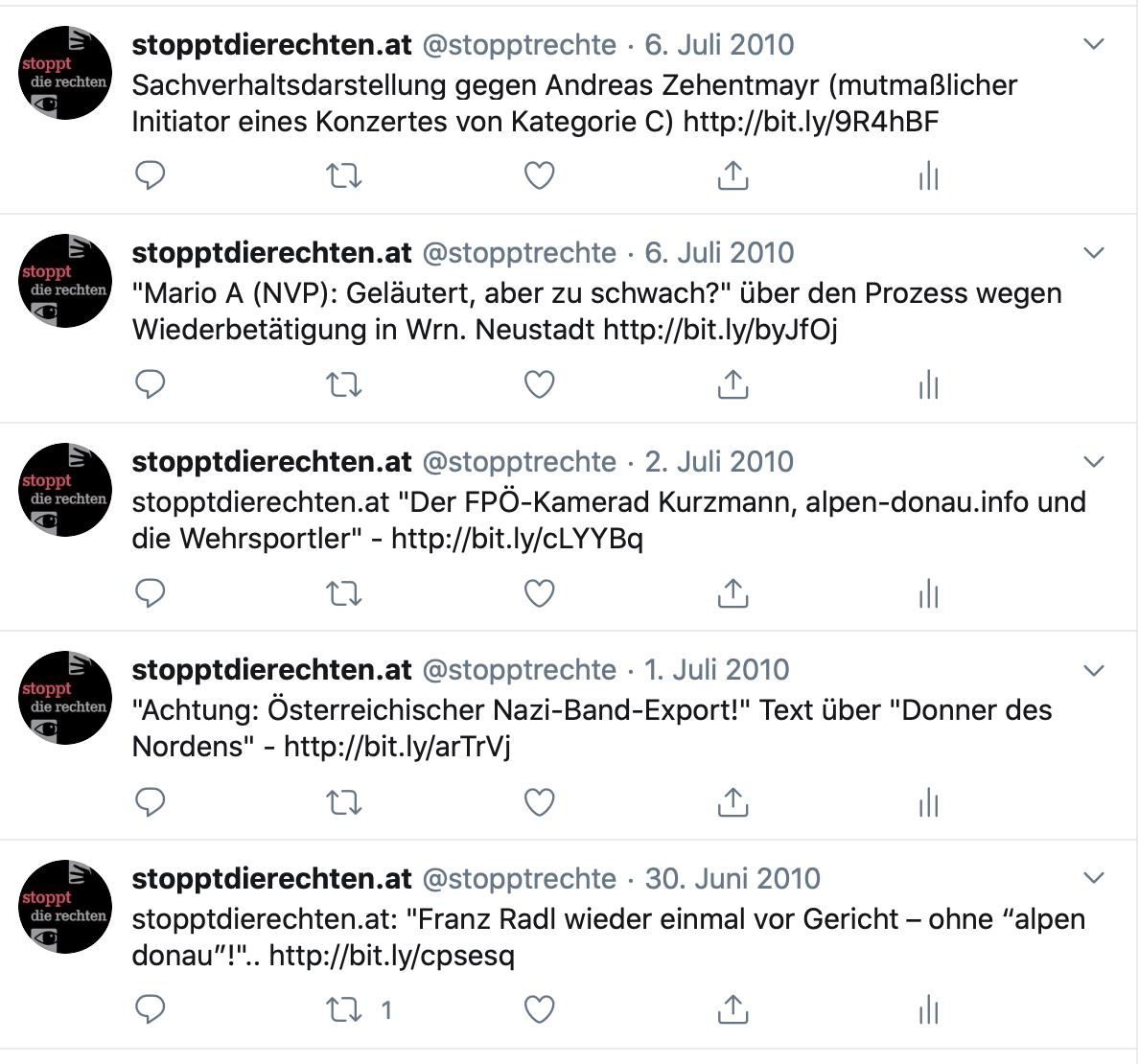 die ersten SdR-Tweets: Alpen-Donau, NVP und Nazikonzerte