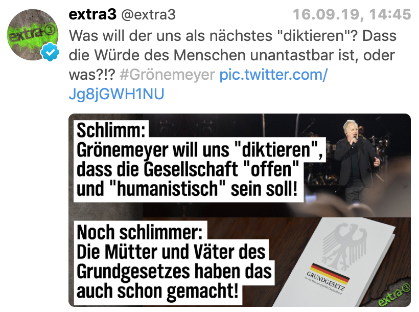 """extra3 reagiert auf den Grönemeyer-Shitstorm durch die Rechte: """"Was will der uns als nächstes """"diktieren""""? Dass die Würde des Menschen unantastbar ist, oder was?!?"""""""