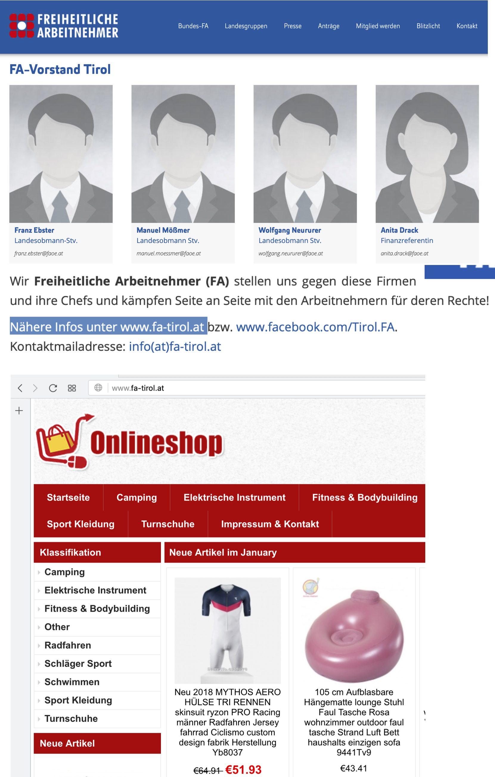 FA-Tirol: Neururer auf der Bundesseite der FA, Onlineshop auf der Landsseite (Stand 2.1.19)