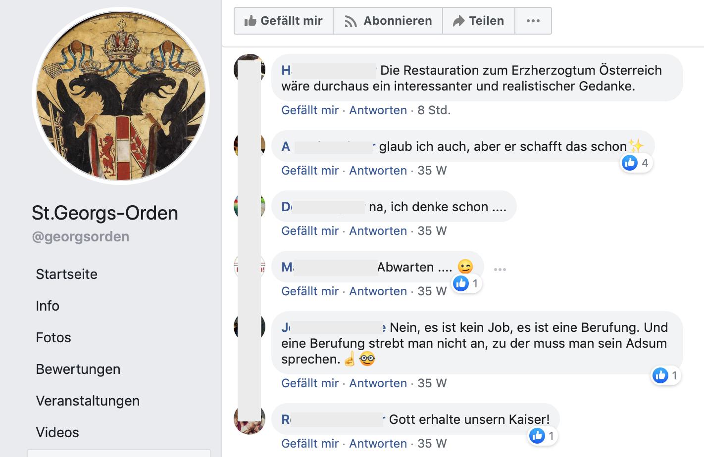 Facebook-Seite des St. Georgs-Orden als habsburgischer Anbetungsverein