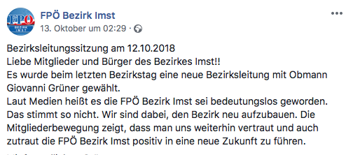 Posting Facebook-Seite FPÖ Bezirk Imst