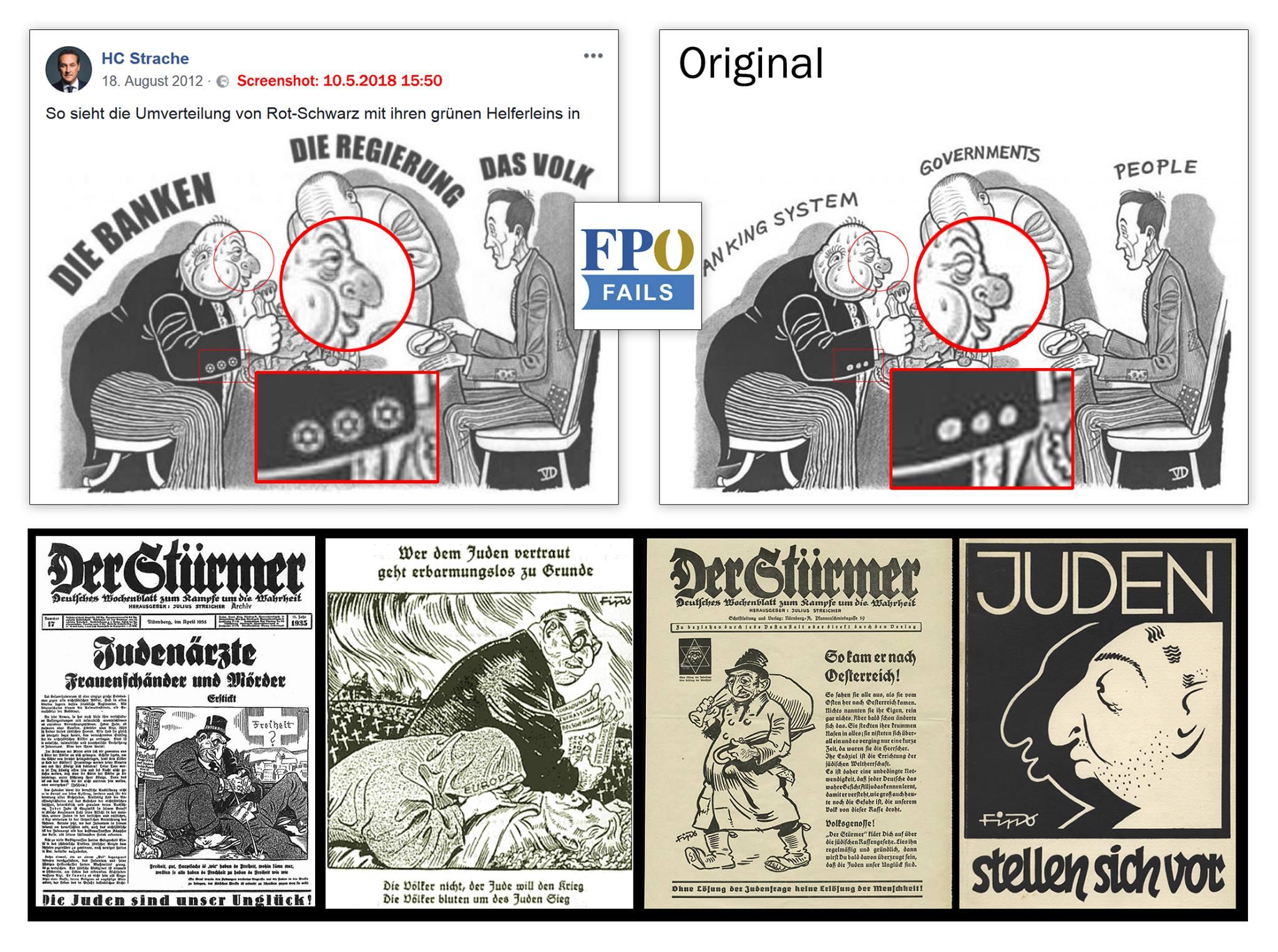 Zusammenstellung: Straches Banker im Stürmer-Stil (https://www.facebook.com/fpoefails/photos/p.1509614569142029/1509614569142029/?type=3&theater)