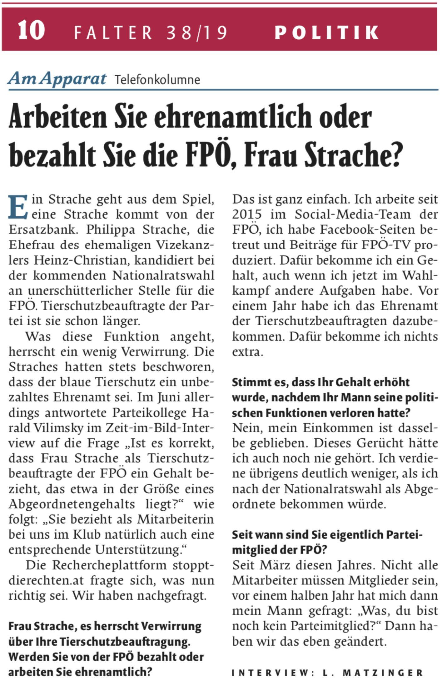 Falter-Telefonat mit Philippa Strache (Falter Nr. 38/19, Seite 10)