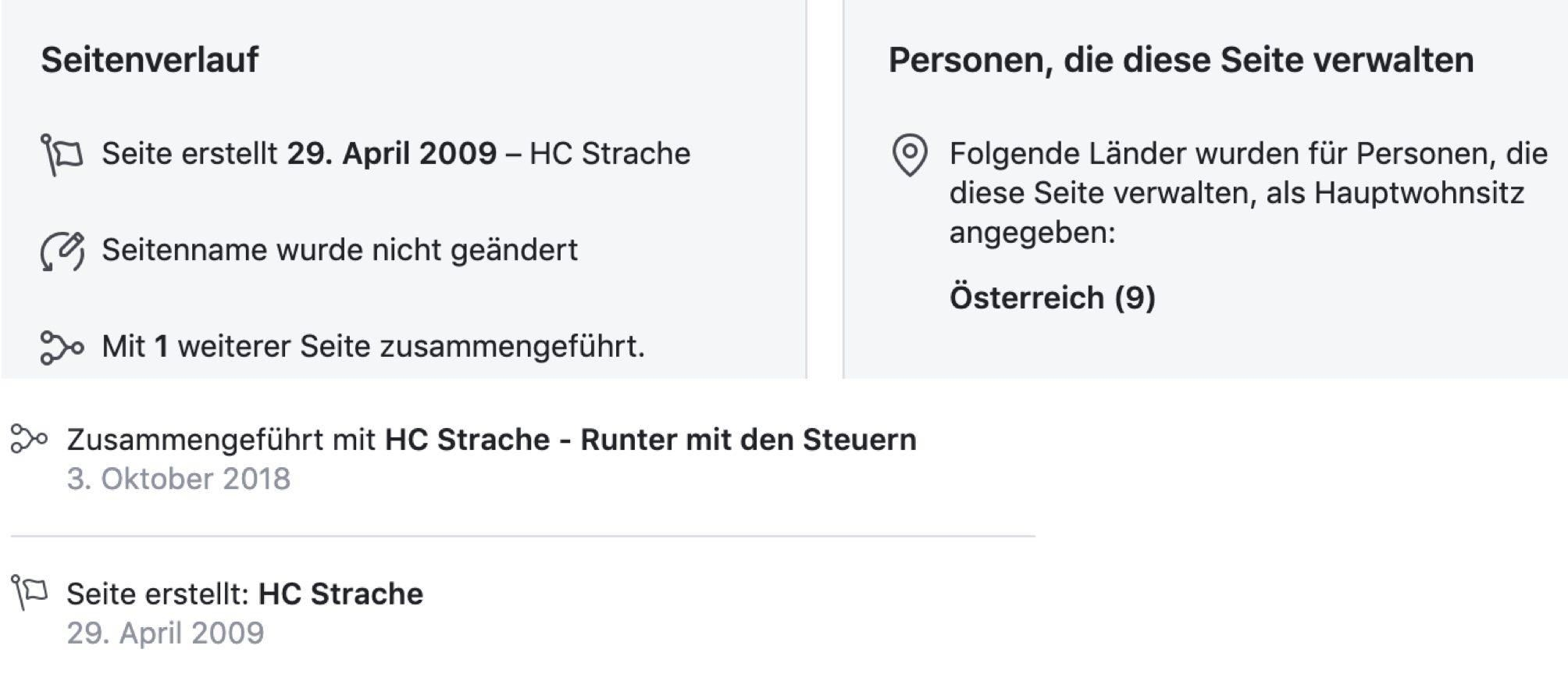FB-Seite HC Strache (Seitentransparenz)