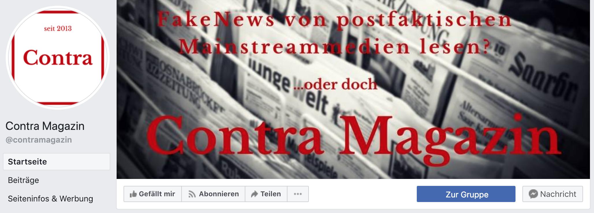 Contra Magazin auf Facebook