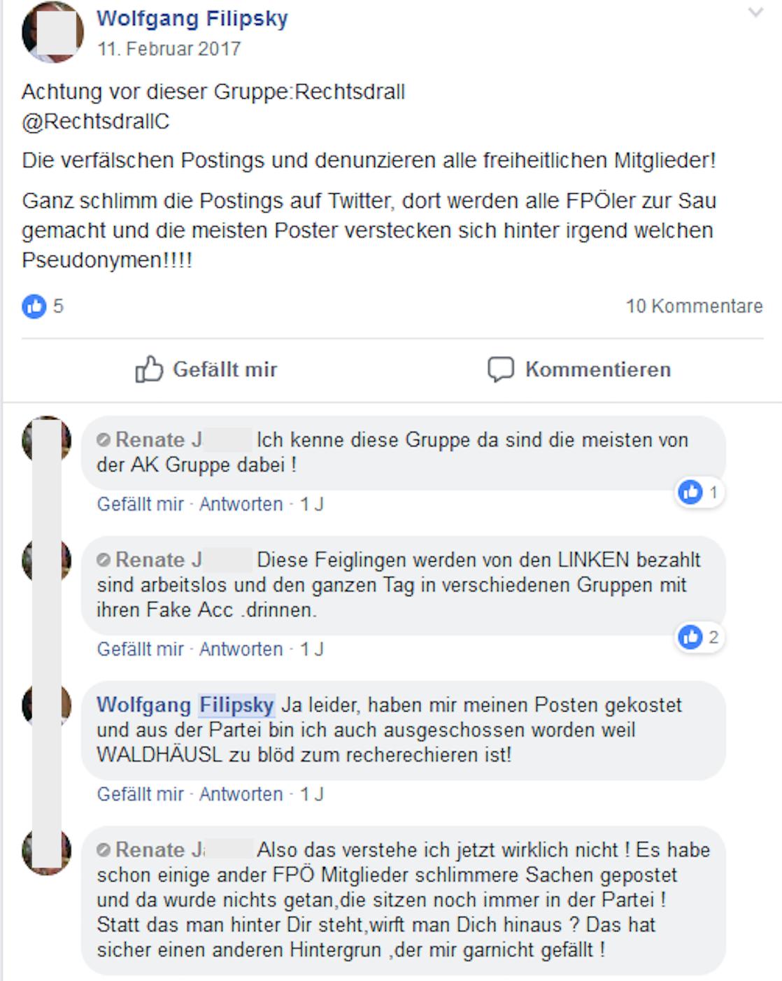 """Filipsky unterhält sich mit Renate J. über seinen Parteiausschluss und Gottfried Waldhäusl, der """"zu blöd zum recherchieren ist"""""""