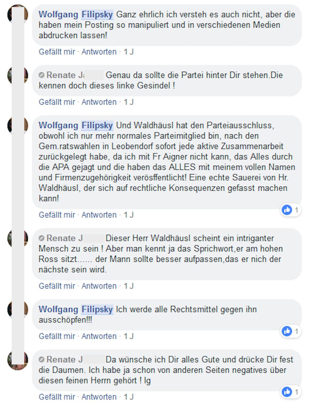 """Filipsky unterhält sich mit Renate J. über seinen Parteiausschluss und Gottfried Waldhäusl, der """"ein intriganter Mensch"""" zu sein scheint"""