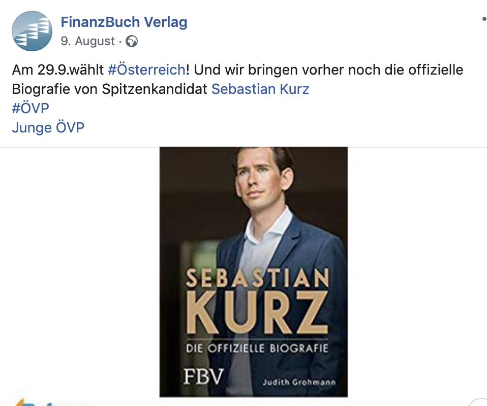 Facebook-Ankündigung der Kurz-Bio durch den FinanzBuch Verlag