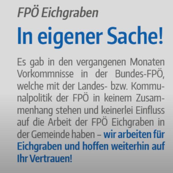 FPÖ Eichgraben (= Ehepaar Gleitsmann) distanziert sich von der Bundespartei