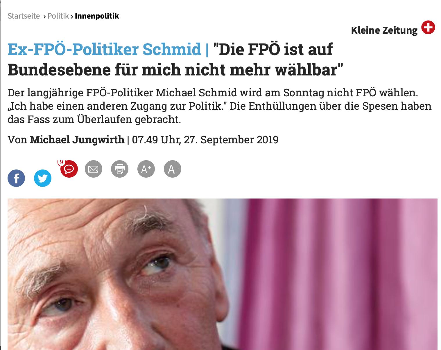 """Michael Schmid: """"Die FPÖ ist für mich auf Bundesebene nicht wählbar"""" (Kleine Zeitung)"""