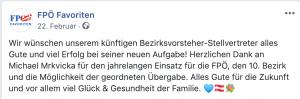 Personalrochade FPÖ Favoriten: stellvertretender Bezirksvorsteher wird ausgetauscht