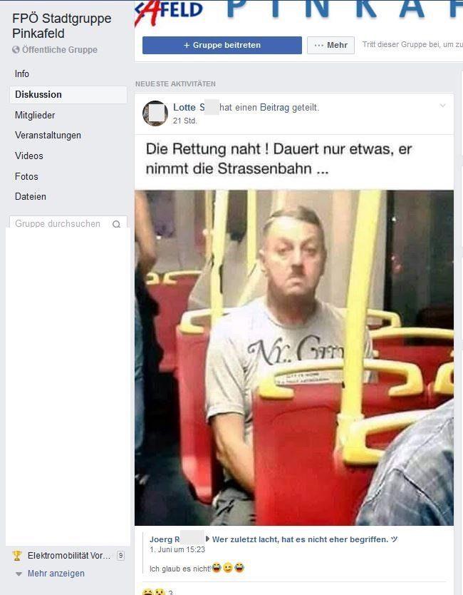 """Posting FPÖ Pinkafeld """"die Rettung naht"""" (Screenshot Regina Petrik)"""