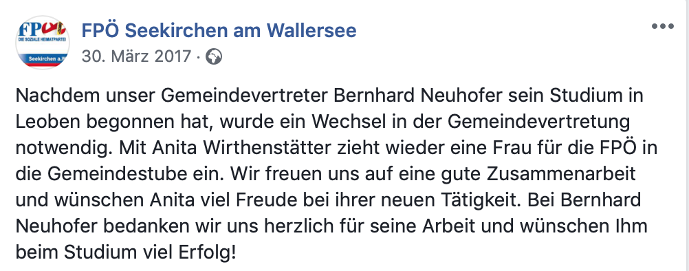 FPÖ Seekirchen dankt Bernhard Neuhofer