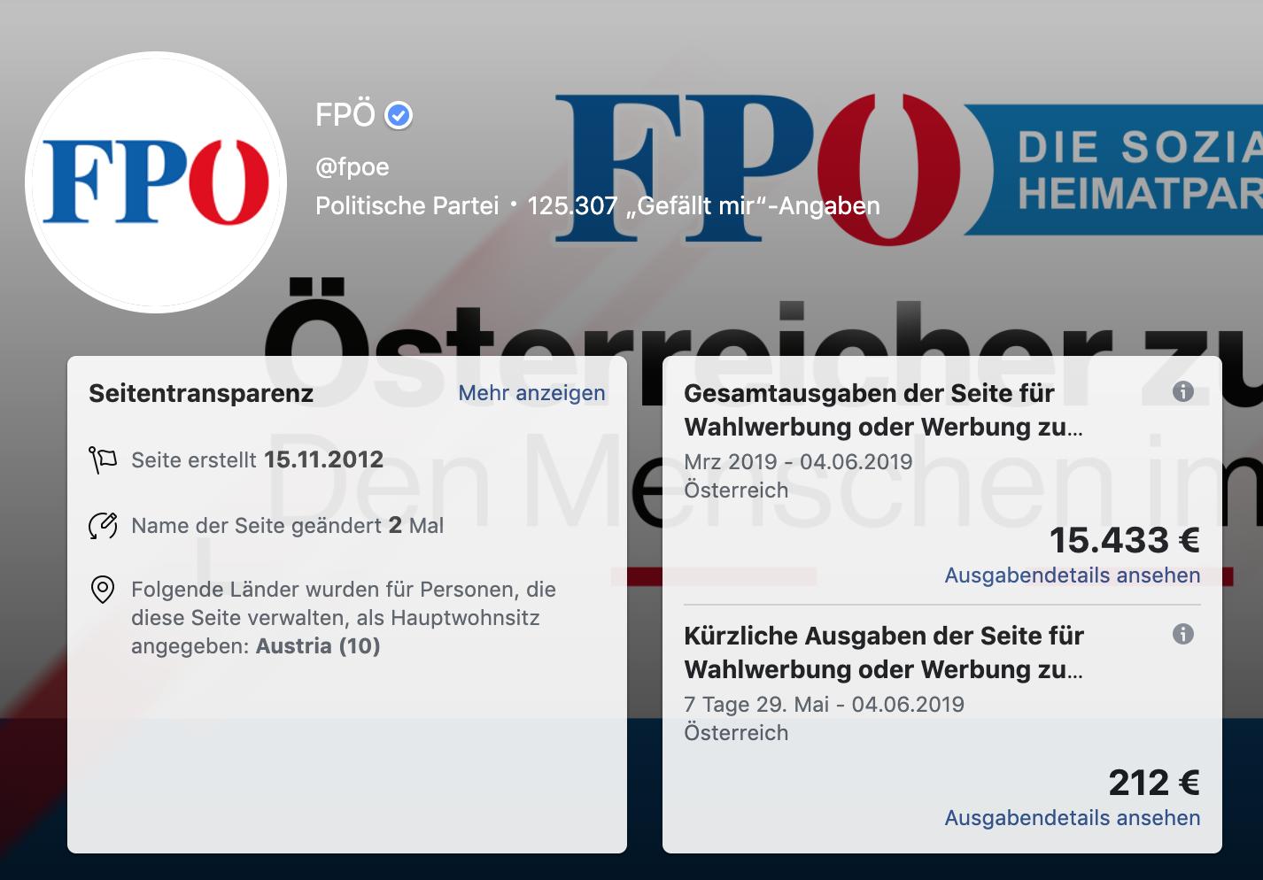 FB-Seite FPÖ – Werbegelder: Die FPÖ investierte in den vergangenen 2 Monaten in die Parteiseite annähernd so viel wie in Straches FB-Seite