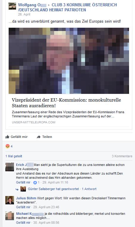 """Frans Timmermans, Vizepräsident der Europäischen Kommission, wird laut Böhm """"ausradiert"""" werden..."""