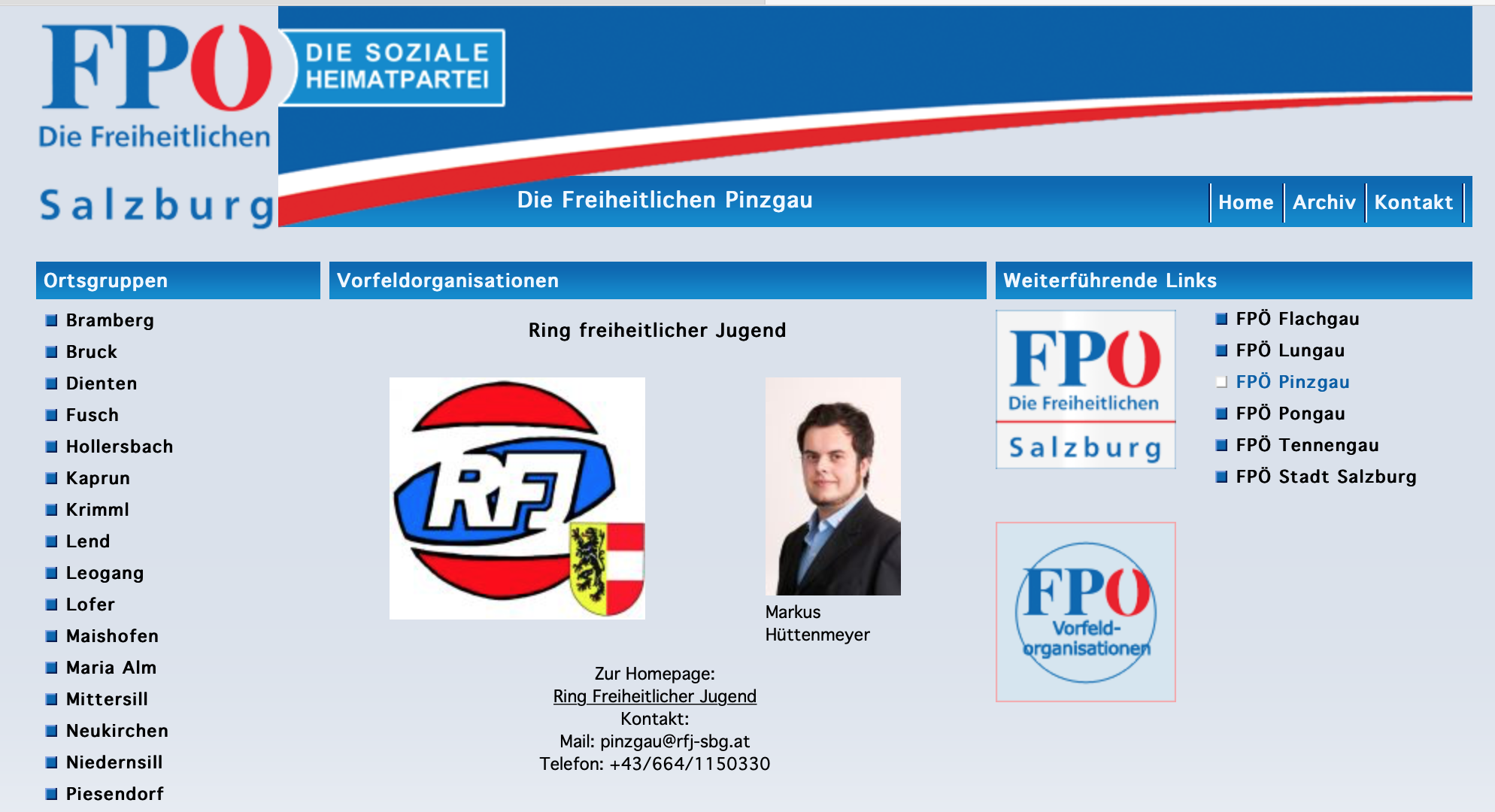 Hüttenmeyer auf der Website der FPÖ Salzburg/Pinzgau (Stand 4.1.19)