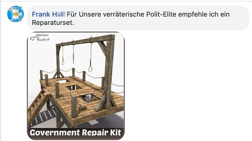 """Frank H.: """"Für unsere verräterische Polit-Elite empfehle ich ein Reparaturset."""" Bild Modell eines Galgens"""