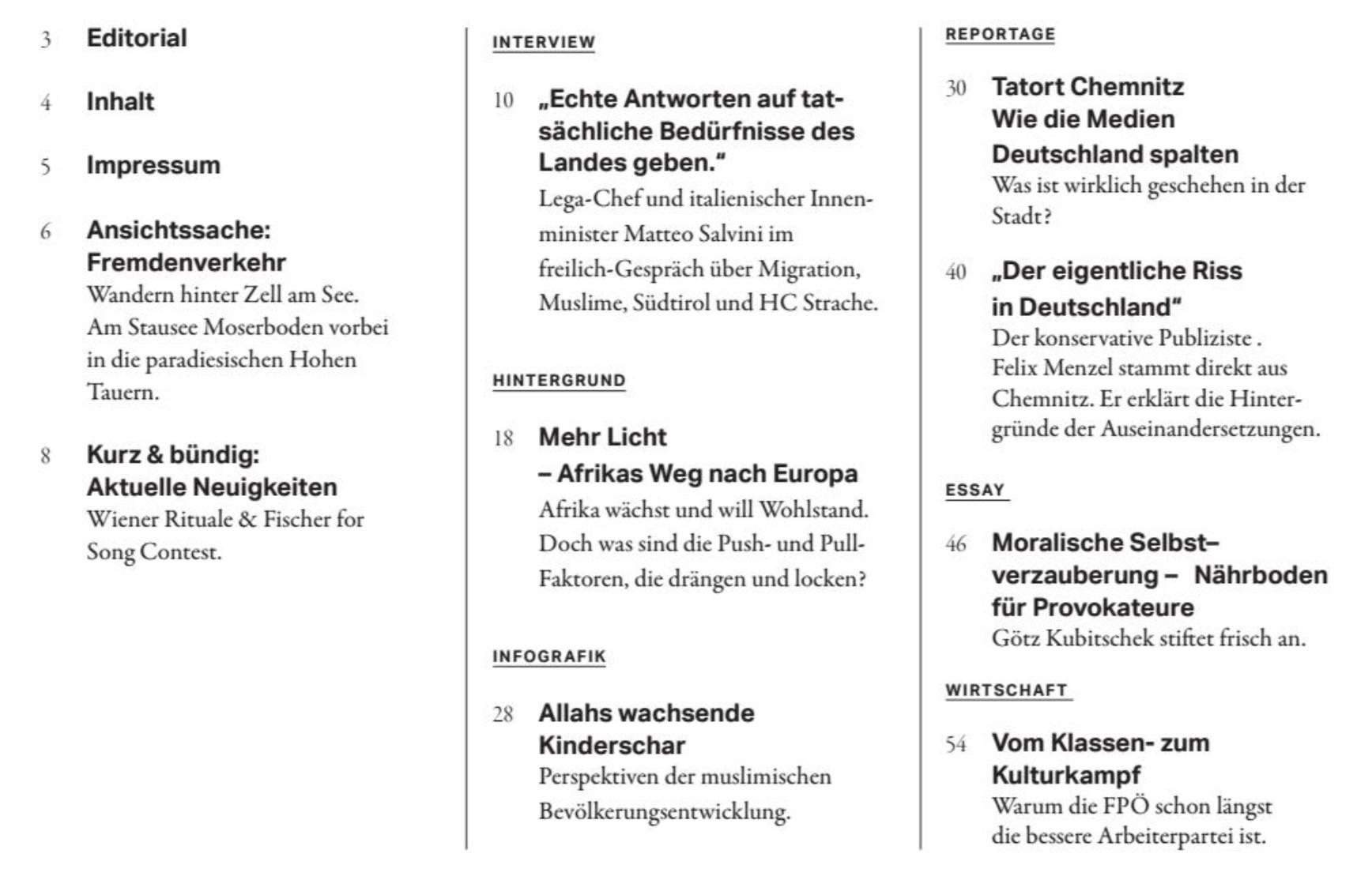 Freilich – Teil des Inhaltsverzeichnisses (Dez. 18)