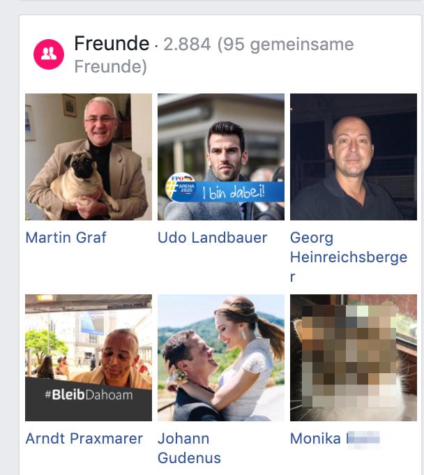 Die FB-Freunde des Andreas P.: (u.a.) Martin Graf, Udo Landbauer, Georg Heinreichsberger, Arndt Praxmarer, Johann Gudenus