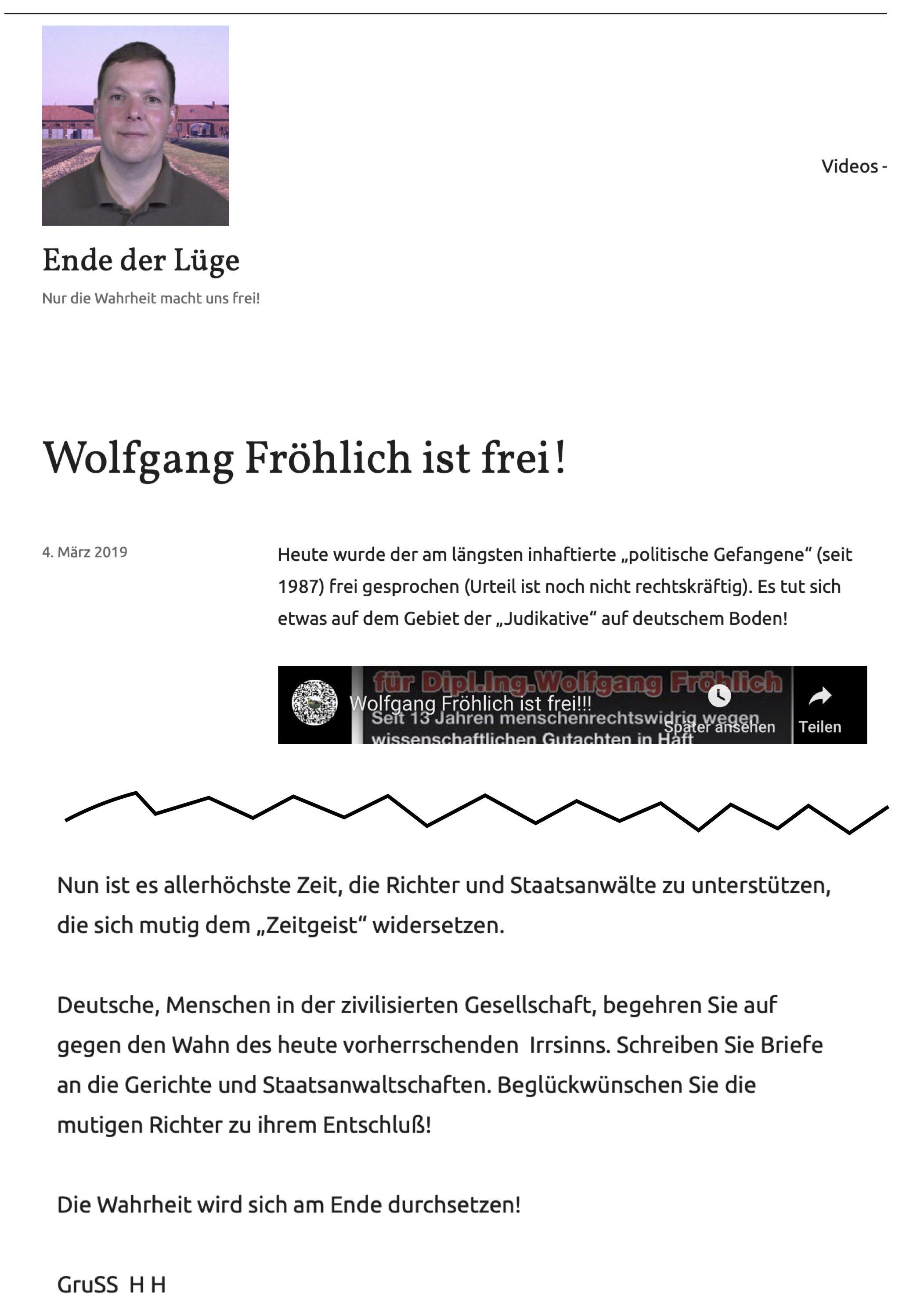 """""""Ende der Lüge"""" teilt Video des """"Thing-Kreis Themar"""" zu Fröhlichs Haftentlassung und ruft auf, """"Richter und Staatsanwälte zu unterstützen, die sich mutig dem 'Zeitgeist' widersetzen."""