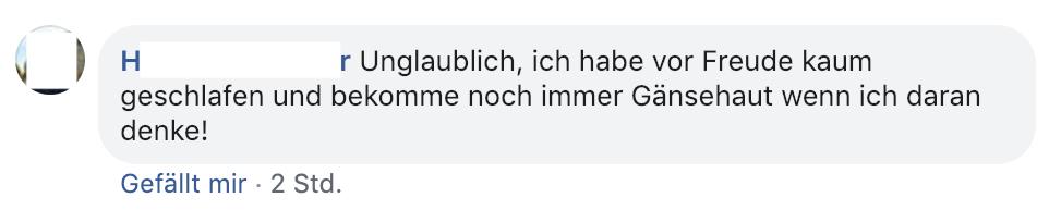 """""""Unglaublich, ich habe vor Freude kaum geschlafen und bekomme noch immer Gänsehaut wenn ich daran denke!"""" – H.P. zur Haftentlassung von Wolfgang Fröhlich"""