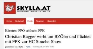 """Skylla gegen die FPÖ al """"HC Strache-Show"""" (Quelle: skylla.at, Mai 2012)"""