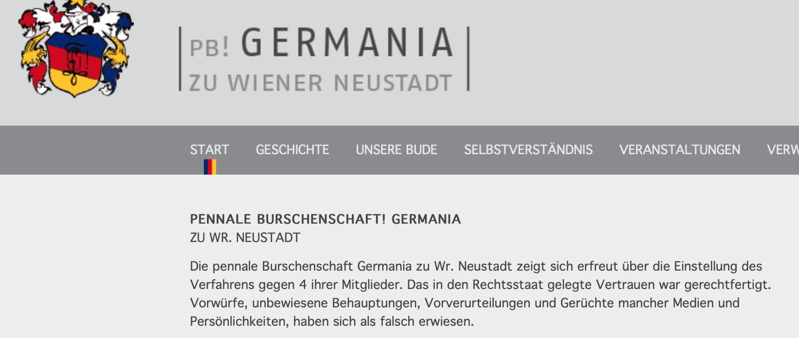 Germania Wiener Neustadt zur Einstellung der Ermittlungen in der Liederbuch-Causa