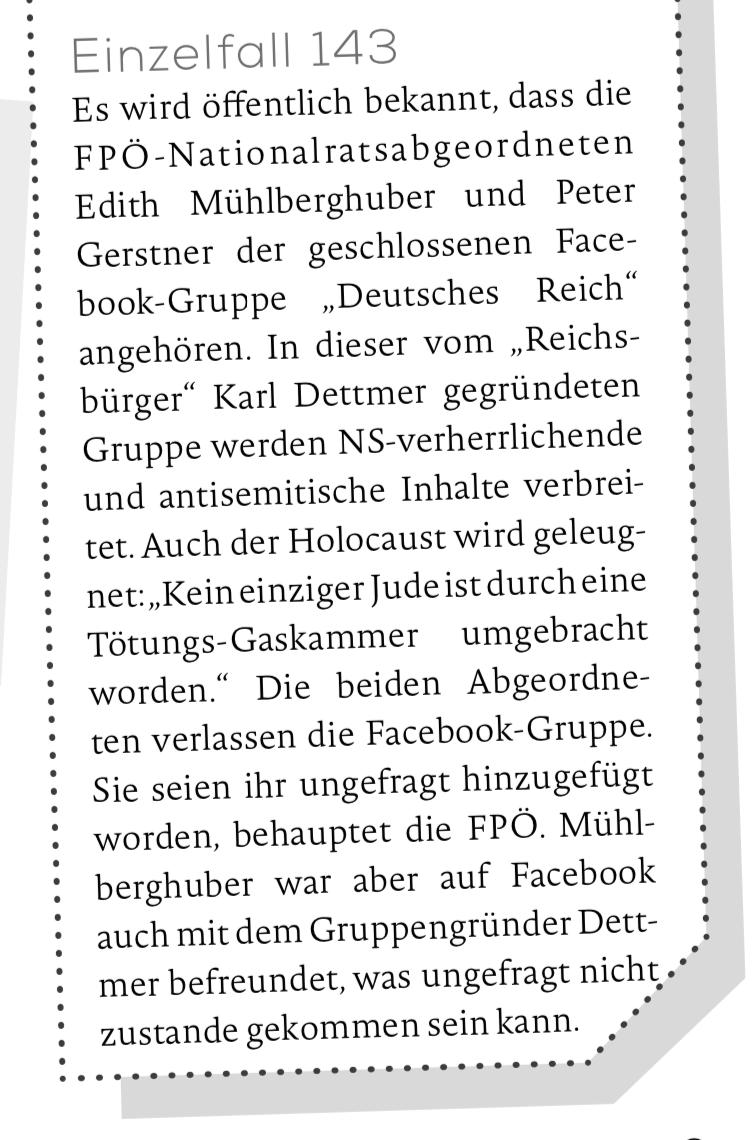 """MKÖ Einzelfall 143: NrAbg. Gerstner und Mühlberghuber in der Gruppe """"Deutsches Reich"""""""