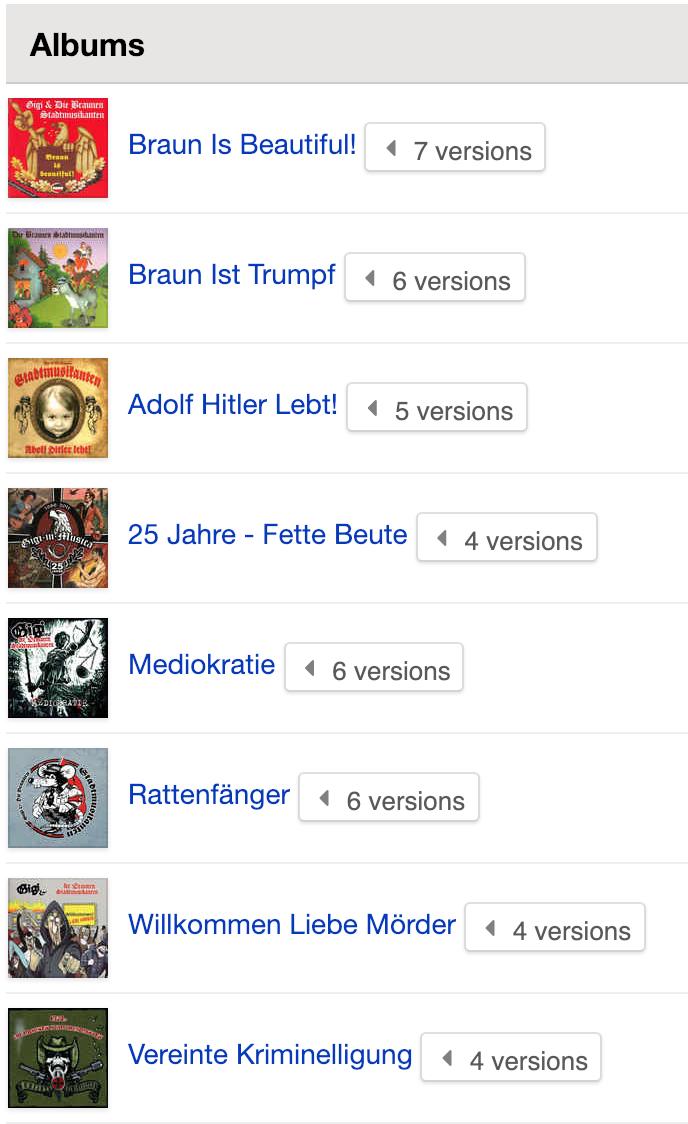 """Albums """"Gigi und die braunen Stadtmusikanten"""""""