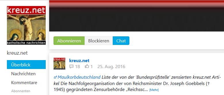 """Die Seite gloria-.tv besitzt eine Subseite namens """"kreuz.net"""" - samt altem Logo und Beiträgen..."""